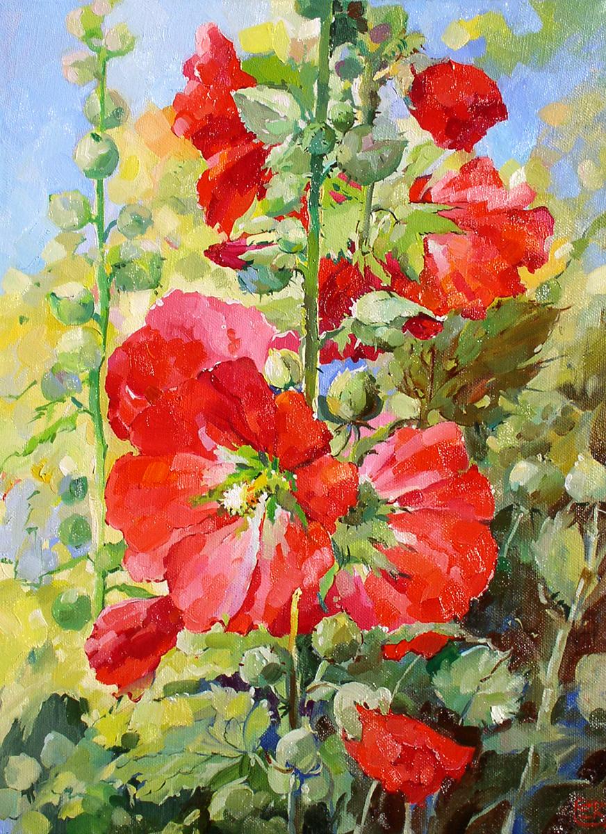 Картина красные мальвы  Цветы Художник Евгения Корнеева